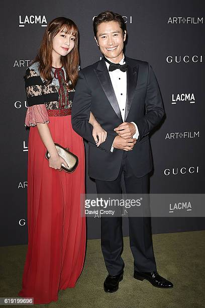 Lee Minjung and Lee Byunghun attend the 2016 LACMA ArtFilm Gala Arrivals at LACMA on October 29 2016 in Los Angeles California