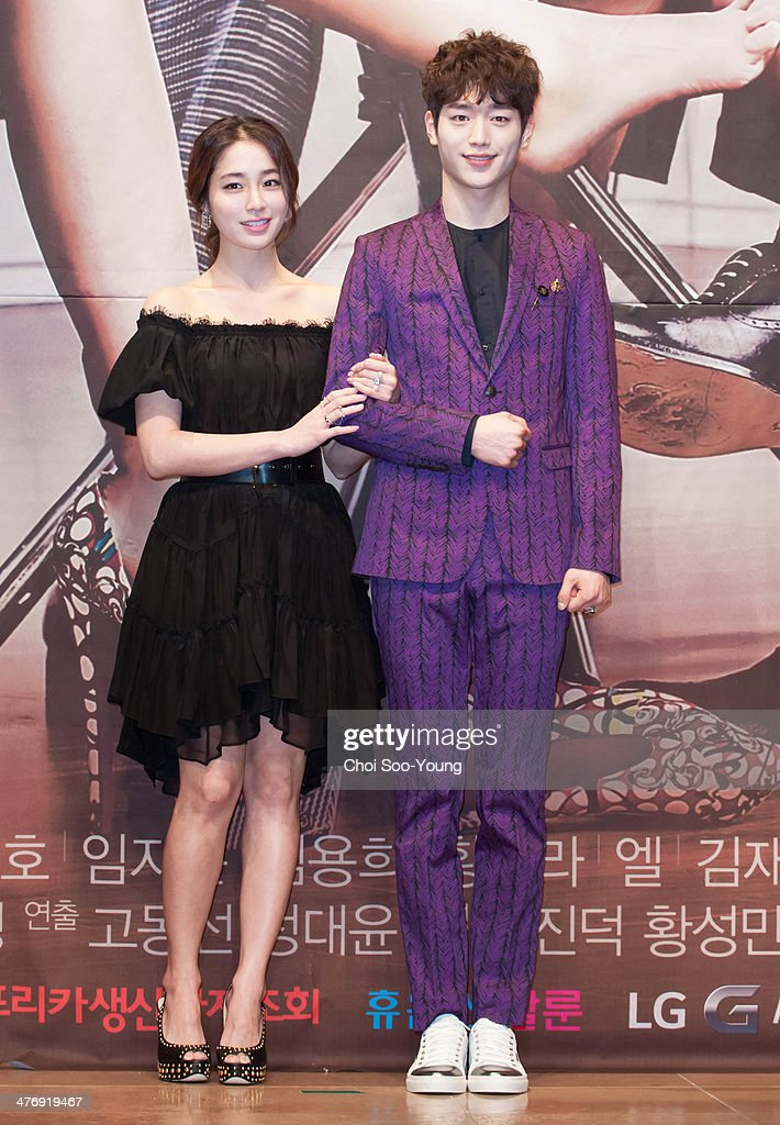 Lee MinJung and Seo KangJoon attend the MBC drama 'Sly and Single Again' press conference at The Raum on February 24 2014 in Seoul South Korea