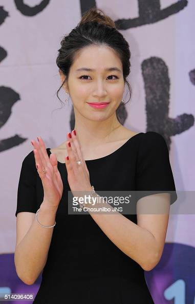 Lee Minjung attends the SBS drama 'Please Come Back Mister' press conference at SBS Broadcasting Center on February 19 2016 in Seoul South Korea