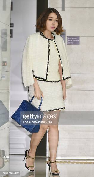 Lee MinJung poses for photographs during the Delvaux 2015/2016 F/W collection presentation at Hyundai department store on August 7 2015 in Seoul...
