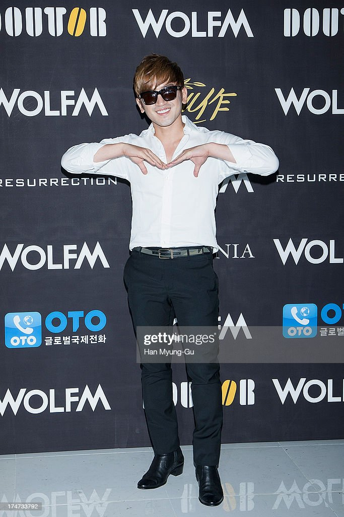 <a gi-track='captionPersonalityLinkClicked' href=/galleries/search?phrase=Lee+Min-Woo&family=editorial&specificpeople=4476484 ng-click='$event.stopPropagation()'>Lee Min-Woo</a> of South Korean boy band Shinhwa attends during a promotional event for the 'Wolf-M' Launch Party at Club Ellui Store on July 28, 2013 in Seoul, South Korea.