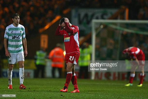 Lee Molyneux of Accrington is dejected at the final whistle as Samuel Foley of Yeovil looks on during the FA Cup Second Round Replay match between...