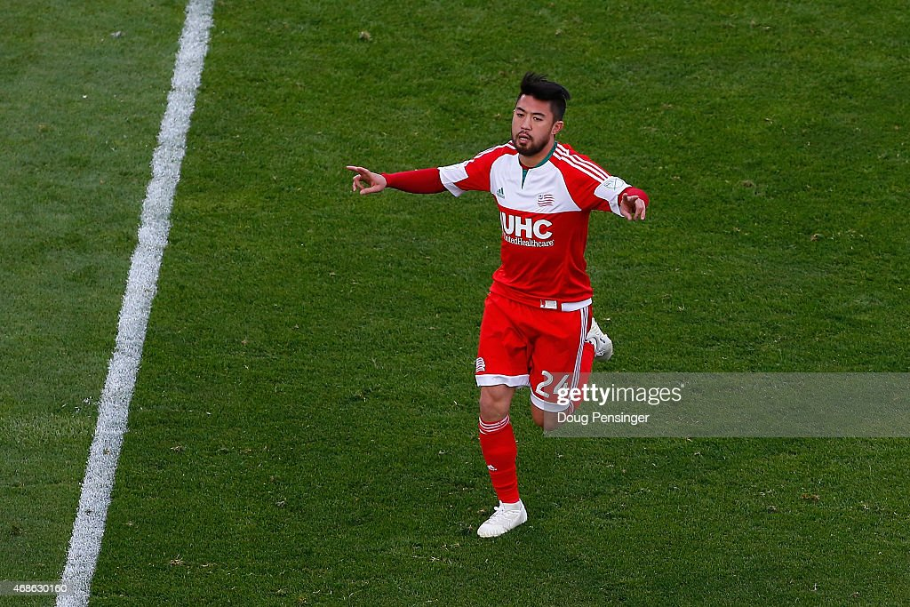 Lee Nguyen of New England Revolution celebrates his penalty kick for a goal to take a 20 lead against the Colorado Rapids in the 54th minute at...