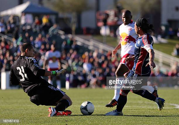 Lee Nguyen of the New England Revolution attempts to score on goalkeeper Luis Robles of the New York Red Bulls during the first half of the FC Tucson...