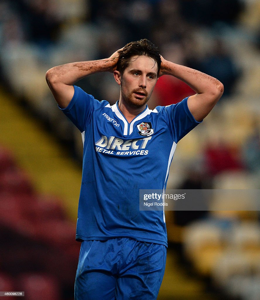 Lee Noble of Dartford reacts after a missed opportunity during the FA Cup Second Round football match between Bradford City and Dartford at Coral Windows Stadium, Valley Parade on December 7, 2014 in Bradford, England.
