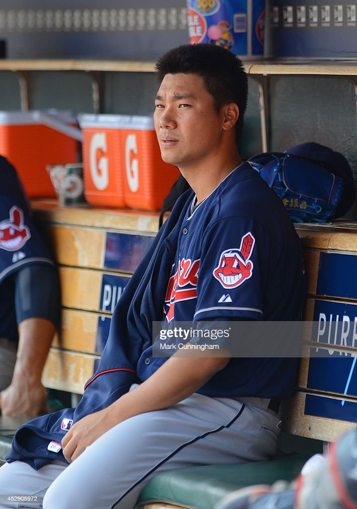 C.C. Lee #20 of the Cleveland Indians looks on during the sixth inning of the game against the Detroit Tigers at Comerica Park on July 20, 2014 in Detroit, Michigan. The Tigers defeated the Indians 5-1.