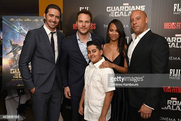 Lee Pace Chris Pratt Jose Galan Zoe Saldana and Vin Diesel attend The Cinema Society with Men's Fitness and FIJI Water special screening of Marvel's...