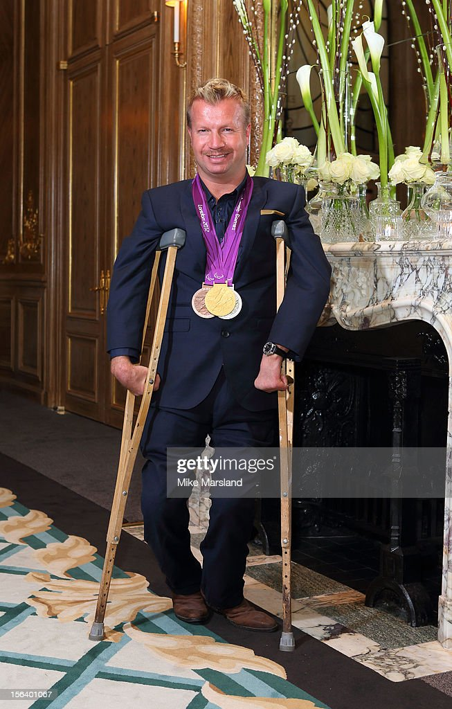 Lee Pearson attends an Olympic and Paralympic review dinner hosted by Omega at Claridge's Hotel on November 14, 2012 in London, England.