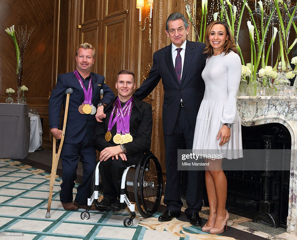 Lee Pearson, David Weir, <a gi-track='captionPersonalityLinkClicked' href=/galleries/search?phrase=Stephen+Urquhart&family=editorial&specificpeople=549432 ng-click='$event.stopPropagation()'>Stephen Urquhart</a> President of Omega and <a gi-track='captionPersonalityLinkClicked' href=/galleries/search?phrase=Jessica+Ennis&family=editorial&specificpeople=602482 ng-click='$event.stopPropagation()'>Jessica Ennis</a> attend an Olympic and Paralympic review dinner hosted by Omega at Claridge's Hotel on November 14, 2012 in London, England.