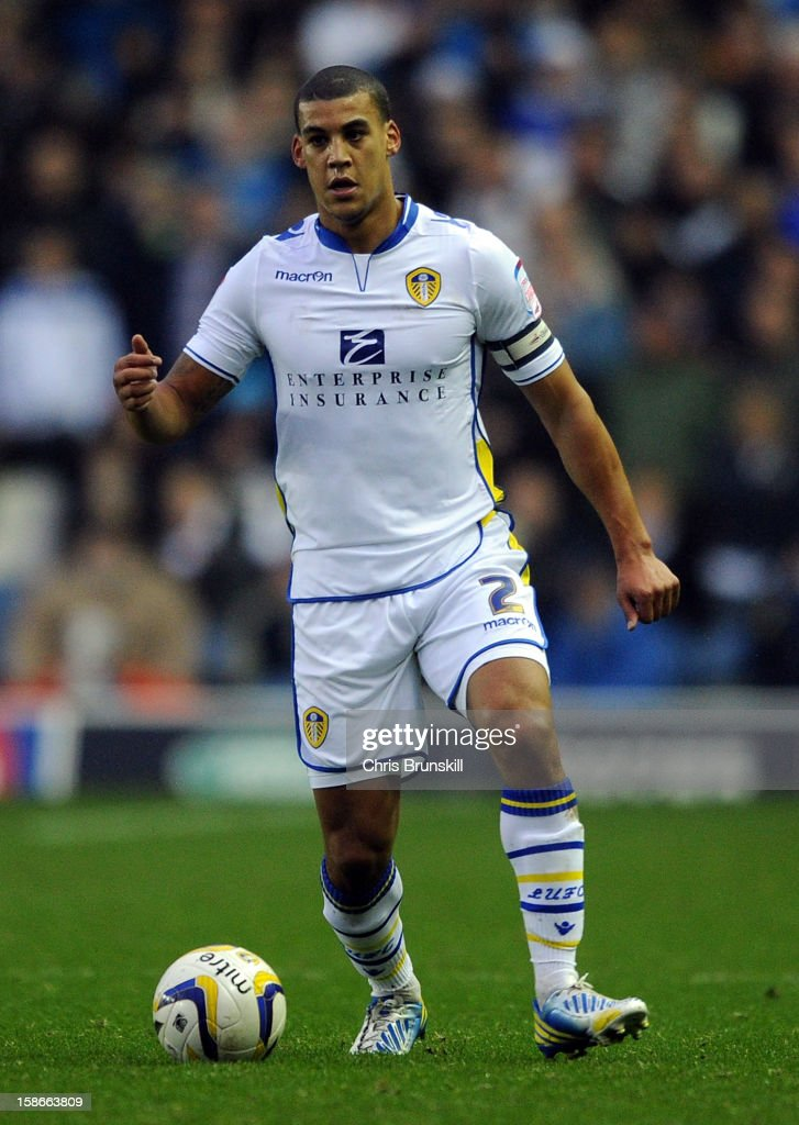 <a gi-track='captionPersonalityLinkClicked' href=/galleries/search?phrase=Lee+Peltier&family=editorial&specificpeople=1007594 ng-click='$event.stopPropagation()'>Lee Peltier</a> of Leeds United in action during the npower Championship match between Leeds United and Middlesbrough at Elland Road on December 22, 2012 in Leeds, England.