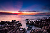 Rocky outcrop during beautiful Darwin sunset Northern Territory Australia