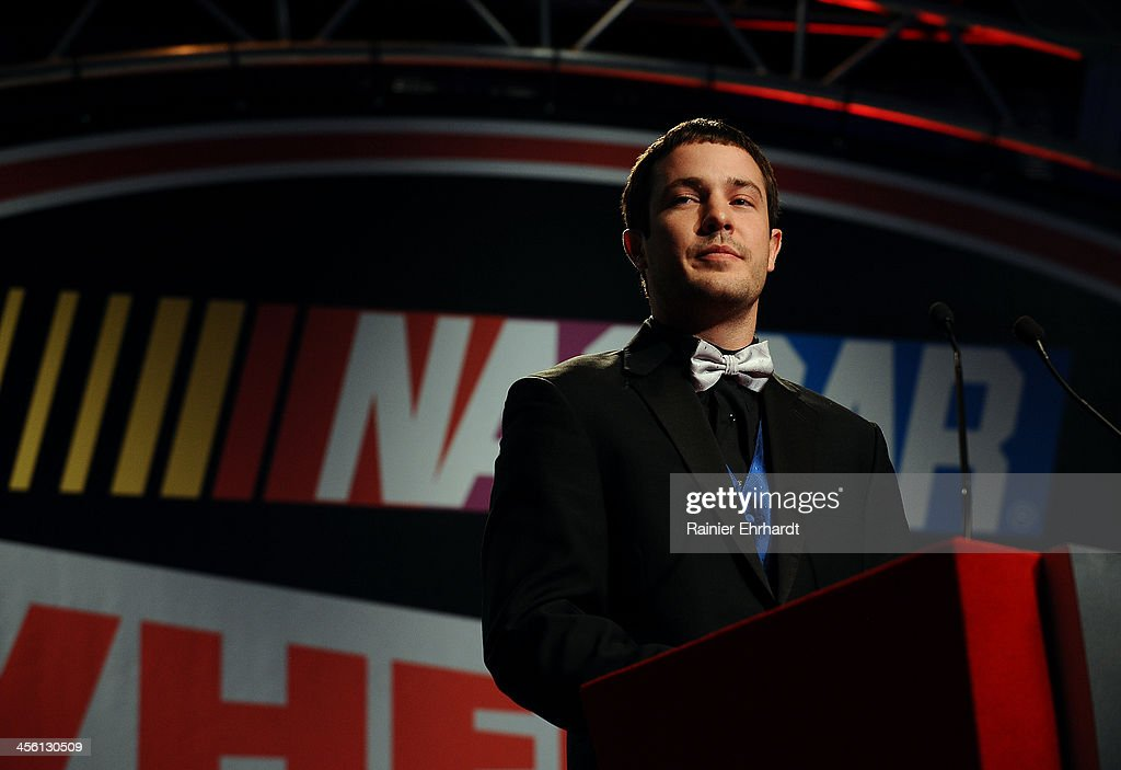 Lee Pulliam, NASCAR All-American Series National Champion, speaks during the NASCAR All-American Series Awards at Charlotte Convention Center on December 13, 2013 in Charlotte, North Carolina.