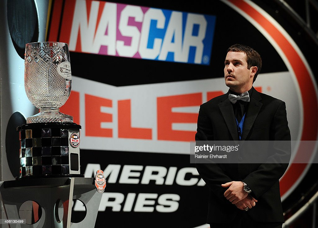 Lee Pulliam, NASCAR All-American Series National Champion, watches a video during the NASCAR All-American Series Awards at Charlotte Convention Center on December 13, 2013 in Charlotte, North Carolina.