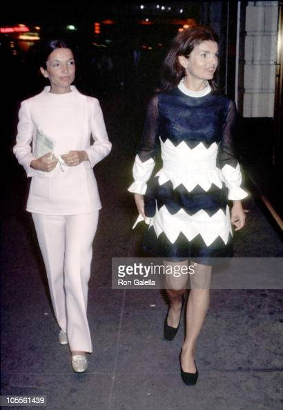 Lee Radziwill and Jackie Onassis during Sighting After Leaving Performance at Alvin Theatre May 11 1970 at Alvin Theatre in New York City New York...