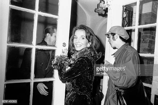 Lee Radziwill Jacqueline Kennedy Onassis' sister wearing crushed velvet coat circa 1970 New York