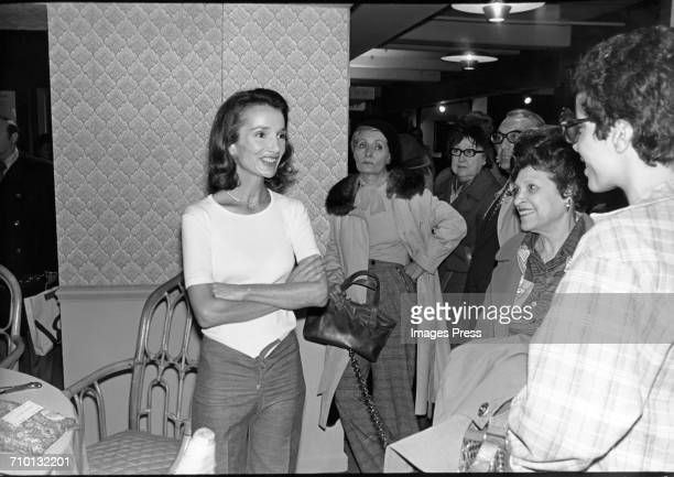 Lee Radziwill photographed in the living room that she personally decorated circa 1976 in New York City