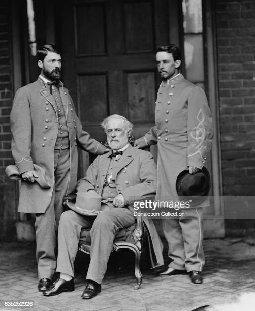 GWC Lee Robert E Lee and Walter Taylor pose for a portrait in circa 1863