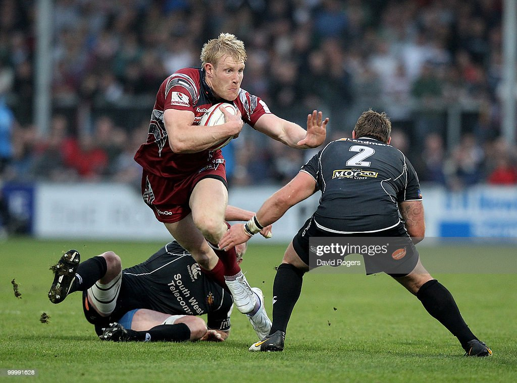 Lee Robinson of Bristol charges upfield during the Championship playoff final match, 1st leg between Exeter Chiefs and Bristol at Sandy Park on May 19, 2010 in Exeter, England.