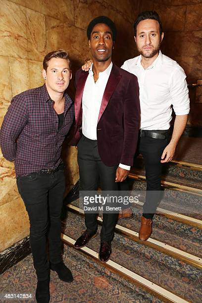 Lee Ryan cast member Simon Webbe and Antony Costa attend the VIP performance of 'The 3 Little Pigs' at The Palace Theatre on August 6 2015 in London...