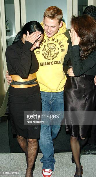 Lee Ryan leaving Nobu with two guests during Lee Ryan Sighting at Nobu in London January 23 2006 in London Great Britain