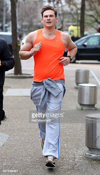 Lee Ryan seen jogging with a personal trainer outside the ITV Studios on December 18 2013 in London England
