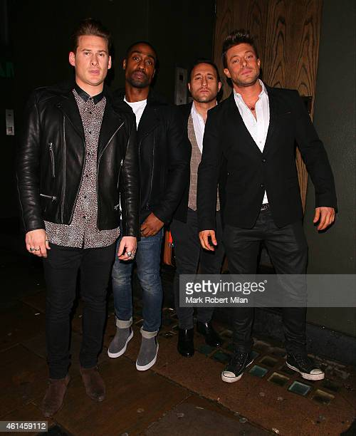 Lee Ryan Simon Webbe Antony Costa and Duncan James of the band Blue arrive at the Century club to celebrate the completion of the recording of their...