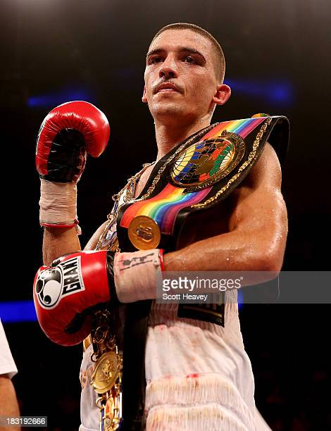 Lee Selby celebrates his victory over Ryan Walsh during their British and Commonwealth Featherweight Championship bout at O2 Arena on October 5 2013...