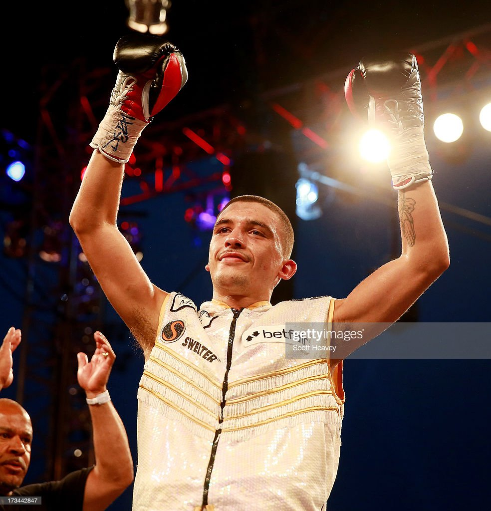 Lee Selby celebrates his victory over Viorel Simion during their International Featherweight Championship bout at Craven Park Stadium on July 13 2013...