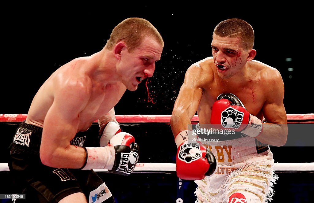 Lee Selby in action with Ryan Walsh during their British and Commonwealth Featherweight Championship bout at O2 Arena on October 5, 2013 in London, England.
