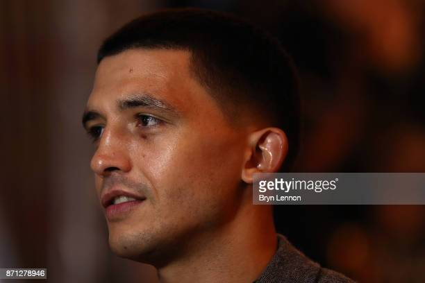 Lee Selby talks to the media during a press conference at The Landmark Hotel on October 30 2017 in London England