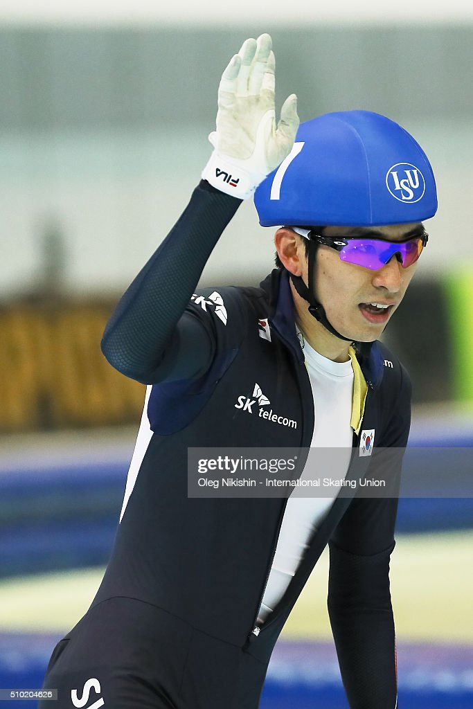 <a gi-track='captionPersonalityLinkClicked' href=/galleries/search?phrase=Lee+Seung-Hoon&family=editorial&specificpeople=2537373 ng-click='$event.stopPropagation()'>Lee Seung-Hoon</a>, of Korea, reacts after winning the men's mass start race during day 4 of the ISU World Single Distances Speed Skating Championships held at Speed Skating Centre Kolomna Ice Arena on February 14, 2016 in Kolomna, Russia.