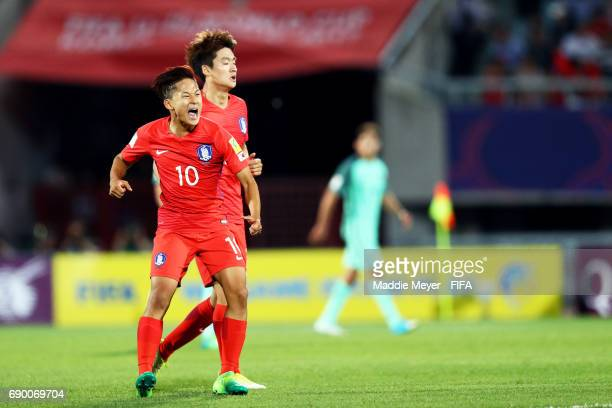 Lee Seungwoo of Korea Republic celebrates after Lee Sangheon scored a goal during the FIFA U20 World Cup Korea Republic 2017 Round of 16 match...