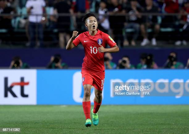 Lee Seungwoo of Korea Republic celebrates after scoring a goal during the FIFA U20 World Cup Korea Republic 2017 group A match between Korea Republic...