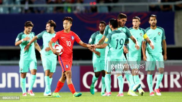 Lee Seungwoo of Korea Republic reacts after Xadas of Portugal scored during the FIFA U20 World Cup Korea Republic 2017 Round of 16 match at Cheonan...