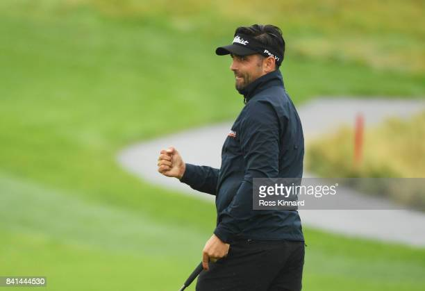 Lee Slattery of England celebrates a birdie on the 15th green during day two of the DD REAL Czech Masters at Albatross Golf Resort on September 1...