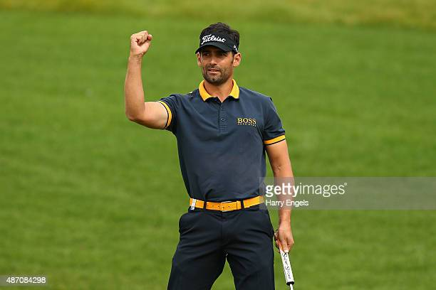 Lee Slattery of England celebrates birdying the first hole on day four of the M2M Russian Open at Skolkovo Golf Club on September 6 2015 in Moscow...