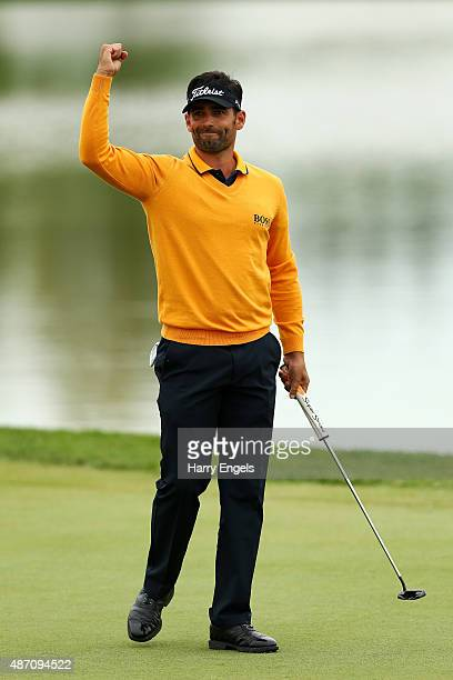 Lee Slattery of England celebrates on the eighteenth green after winning the M2M Russian Open at Skolkovo Golf Club on September 6 2015 in Moscow...