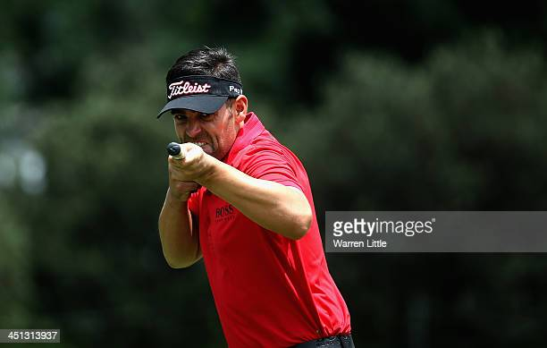 Lee Slattery of England gestures to the camera during the second round of the South African Open Championship at Glendower Golf Club on November 22...