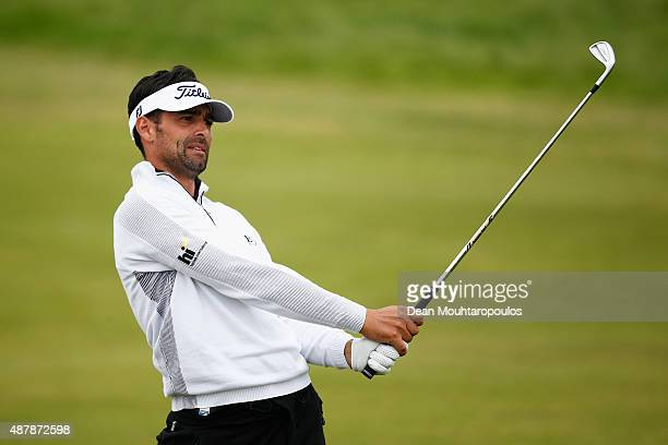 Lee Slattery of England hits his second shot on the 18th hole during Day 3 of the KLM Open held at Kennemer G CC on September 12 2015 in Zandvoort...