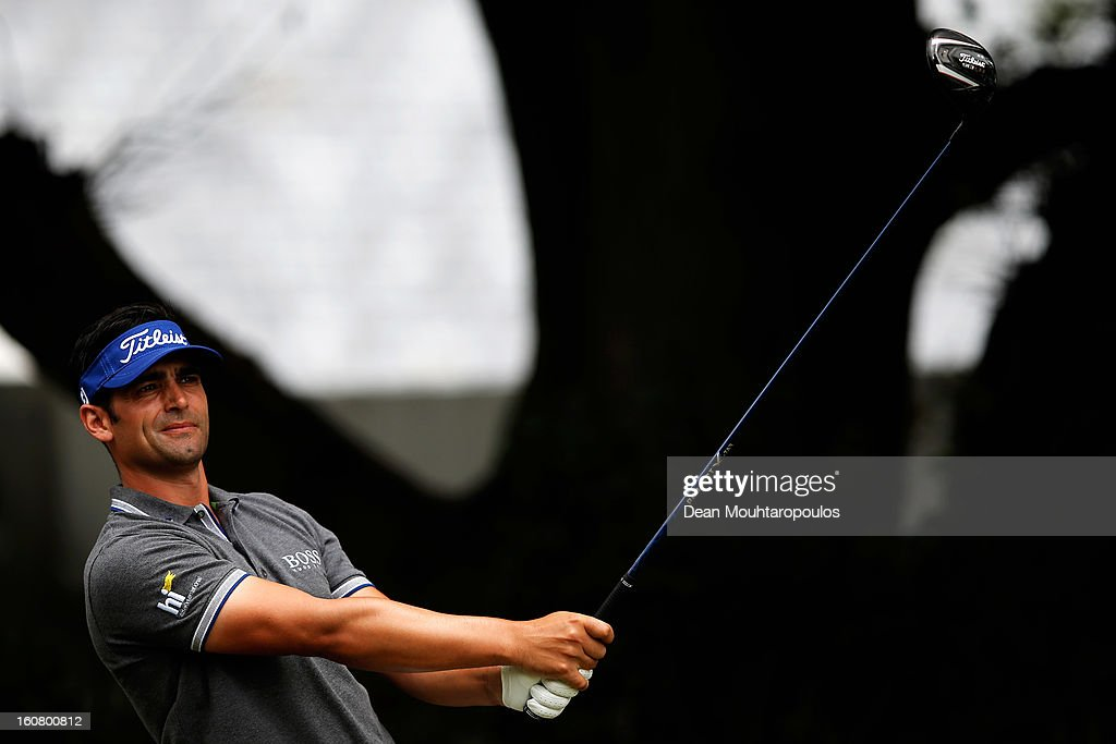 <a gi-track='captionPersonalityLinkClicked' href=/galleries/search?phrase=Lee+Slattery&family=editorial&specificpeople=178304 ng-click='$event.stopPropagation()'>Lee Slattery</a> of England hits his tee shot on the 1st East Course hole during the Joburg Open ProAm at Royal Johannesburg and Kensington Golf Club on February 6, 2013 in Johannesburg, South Africa.