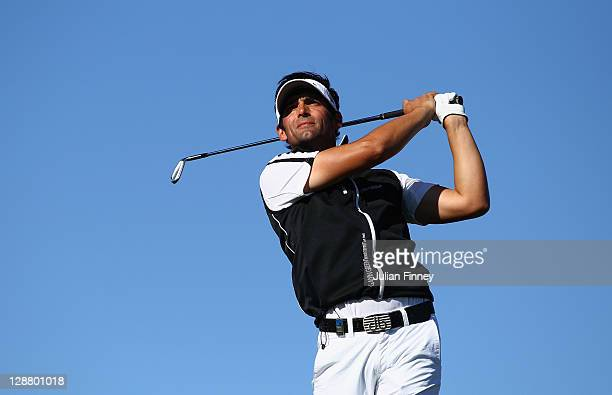 Lee Slattery of England in action during round four of the Madrid Masters Golf at El Encin Golf Hotel on October 9 2011 in Madrid Spain