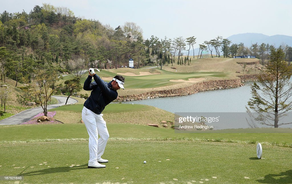 Lee Slattery of England in action during the second round of the Ballantine's Championship at Blackstone Golf Club on April 26, 2013 in Icheon, South Korea.