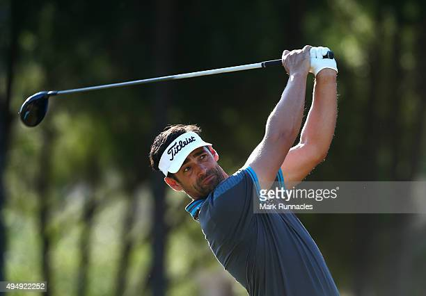 Lee Slattery of England in action during the second round of the Turkish Airlines Open at The Montgomerie Maxx Royal Golf Club on October 30 2015 in...