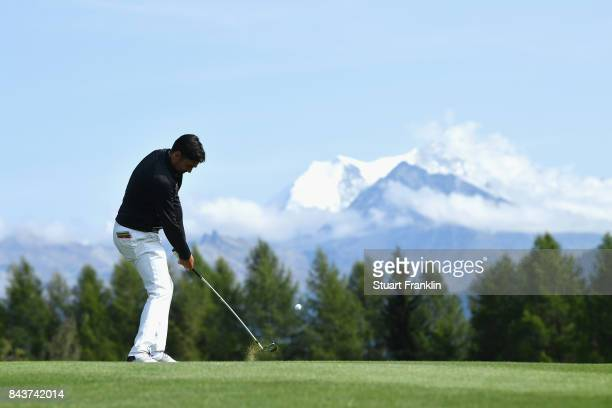 Lee Slattery of England on the 12th during day one of the 2017 Omega European Masters at CranssurSierre Golf Club on September 7 2017 in CransMontana...