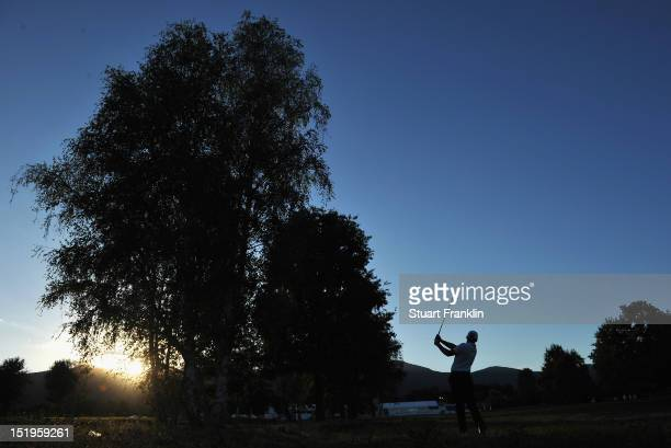 Lee Slattery of England plays a shot during the first round of the BMW Italian open at Royal Park Golf Country Club on September 13 2012 in Turin...
