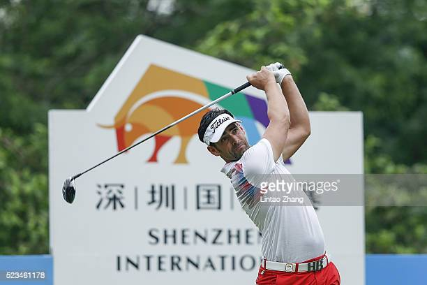 Lee Slattery of England plays a shot during the third round of the Shenzhen International at Genzon Golf Club on April 23 2016 in Shenzhen China