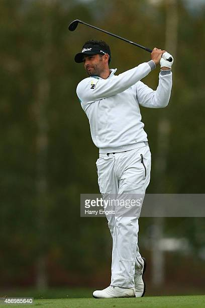 Lee Slattery of England plays his second shot on the sixteenth hole on day three of the M2M Russian Open at Skolkovo Golf Club on September 5 2015 in...