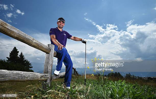 Lee Slattery of England poses for a picture prior to the start of the Omega European Masters at CranssurSierre Golf Club on July 22 2015 in...