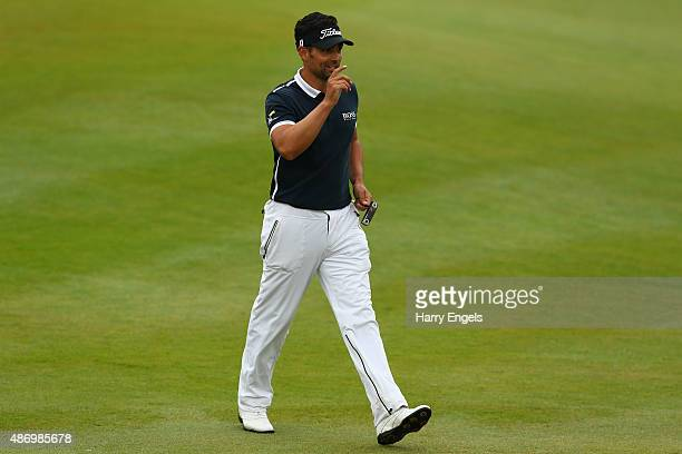 Lee Slattery of England reacts after putting on the eighth hole on day three of the M2M Russian Open at Skolkovo Golf Club on September 5 2015 in...