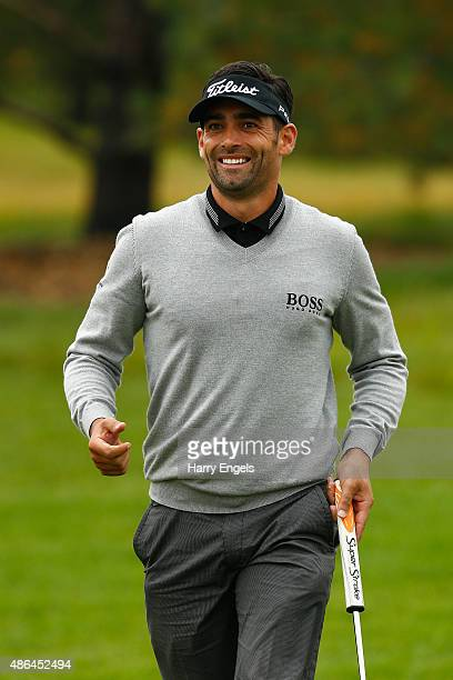 Lee Slattery of England smiles after putting on the first hole on day two of the M2M Russian Open at Skolkovo Golf Club on September 4 2015 in Moscow...